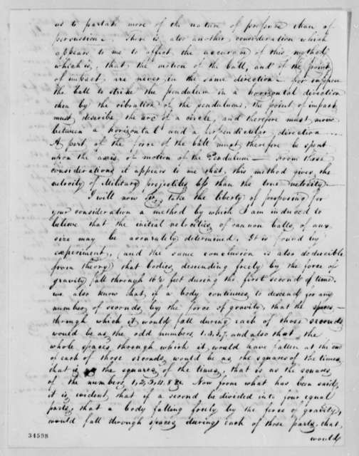 Alden Partridge to Thomas Jefferson, January 19, 1812, with Table and Note