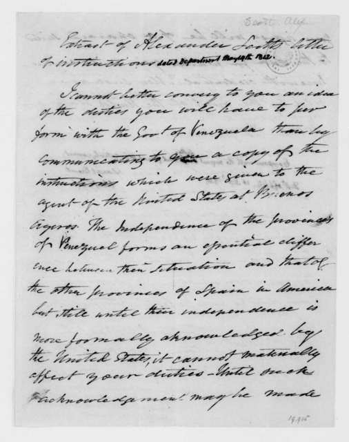 Alexander Scott to James Madison, May 14, 1812. Certified correct by Daniel Brent on Sept. 10, 1825.