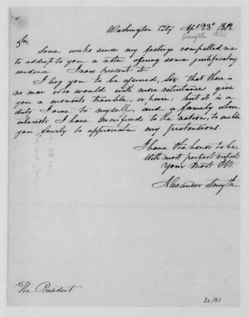 Alexander Smyth to James Madison, April 23, 1812.