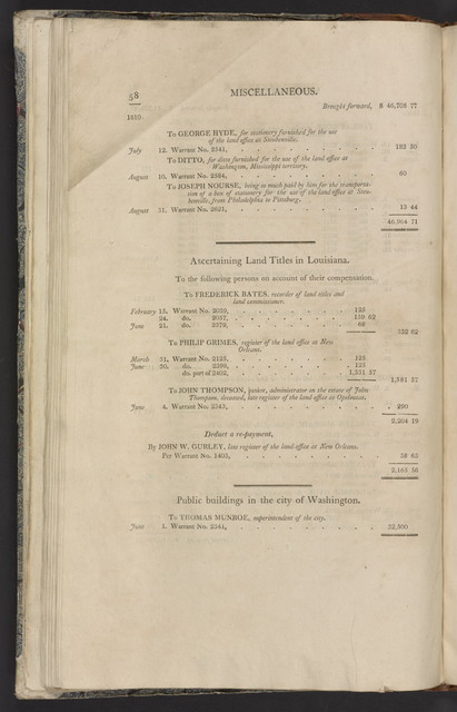 An account of the receipts and expenditures of the United States for the year 1810.