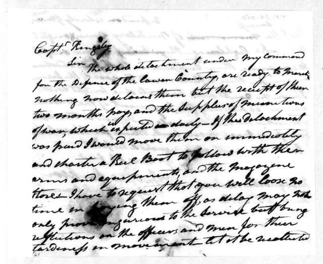 Andrew Jackson to Alpha Kingsley, December 23, 1812