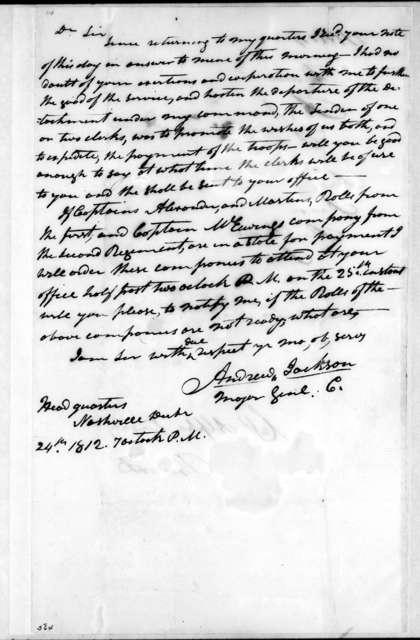 Andrew Jackson to Alpha Kingsley, December 24, 1812