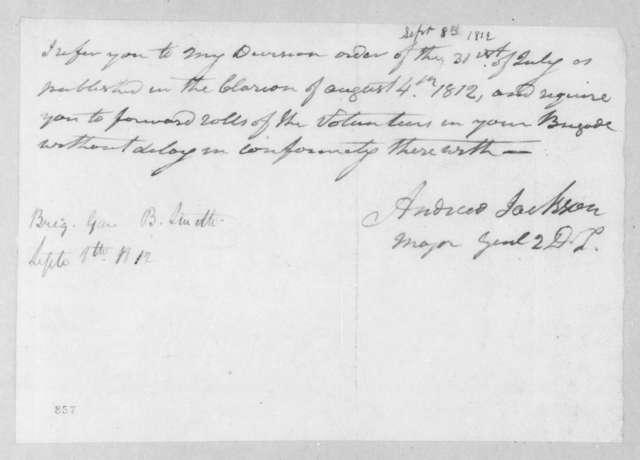 Andrew Jackson to B. Smith, September 8, 1812