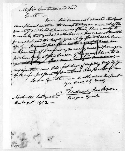 Andrew Jackson to Cantrell & Reed, December 20, 1812