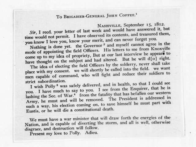 Andrew Jackson to John Coffee, September 15, 1812