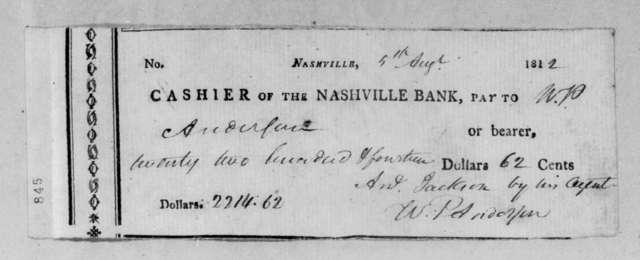 Andrew Jackson to William Preston Anderson, August 5, 1812