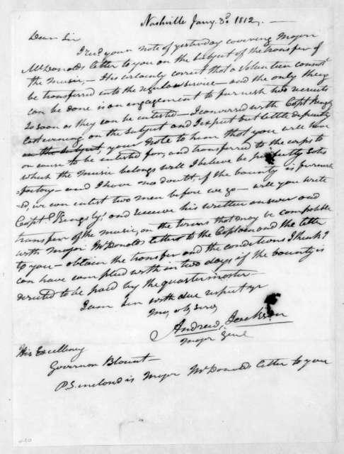 Andrew Jackson to Willie Blount, January 3, 1812
