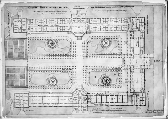 "[Asylum and hospital (""Marine Asylum & Hospital""), Washington, D.C. Site plan and landscaping]"