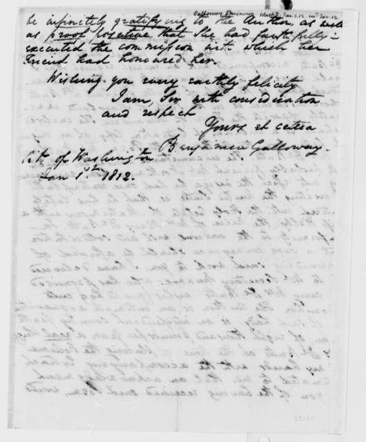 Benjamin Galloway to Thomas Jefferson, January 1, 1812
