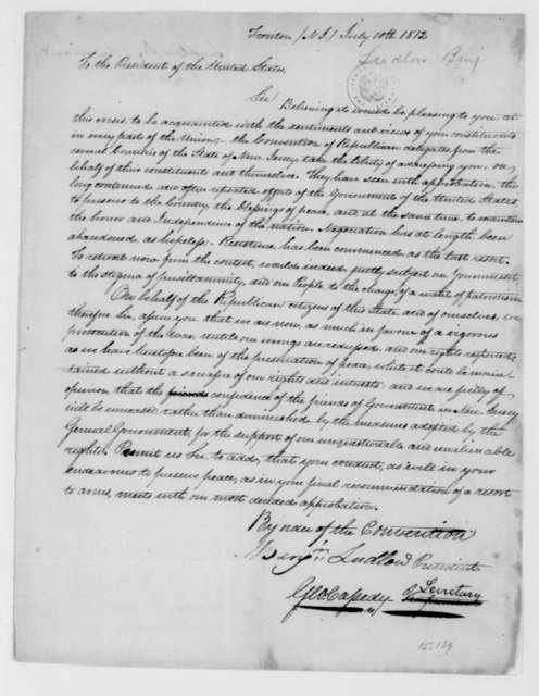 Benjamin Ludlow to James Madison, July 10, 1812.