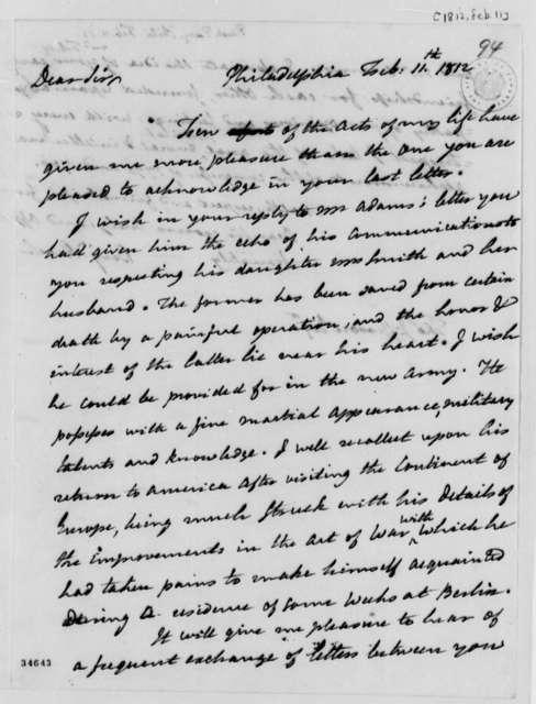 Benjamin Rush to Thomas Jefferson, February 11, 1812