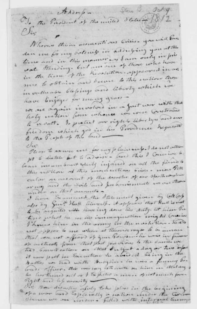 Benjamin Stone to James Madison, October 9, 1812. Address.