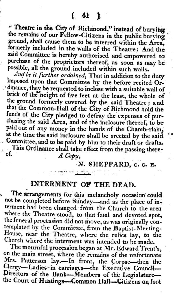 Calamity at Richmond, being a narrative of the affecting circumstances attending the awful conflagration of the theatre in the city of Richmond, on the night of Thursday, the 26th of December, 1811. By which, more than seventy of its valuable citizens suddenly lost their lives, and many others were greatly injured and maimed.  Collected from various letters, publications, and official reports, and accompanied with a preface, containing appropriate reflections, calculated to awaken the attention of the public, to the frequency of the destruction of theatrical edifices.