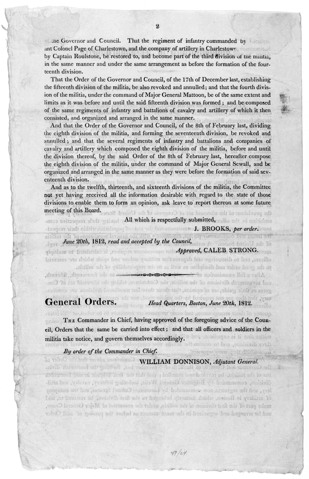 Commonwealth Of Massachusetts Council Chamber June 19th 1812 The