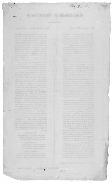 Commonwealth of Massachusetts. General orders. Headquarters, Boston July 3d, 1812. ... By order of the Commander in chief. William Donnison, Adjutant General [Boston 1812].