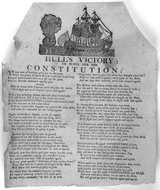 [Cut] Hull's victory: or, Huzza for the constitution [1812?].