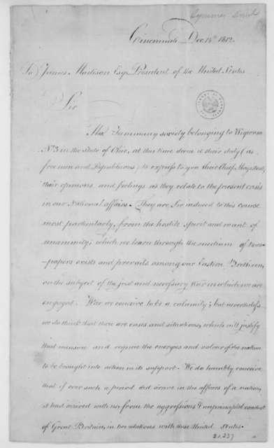 Daniel Symmes to James Madison, December 14, 1812. Address by the Ohio Tammany Society.