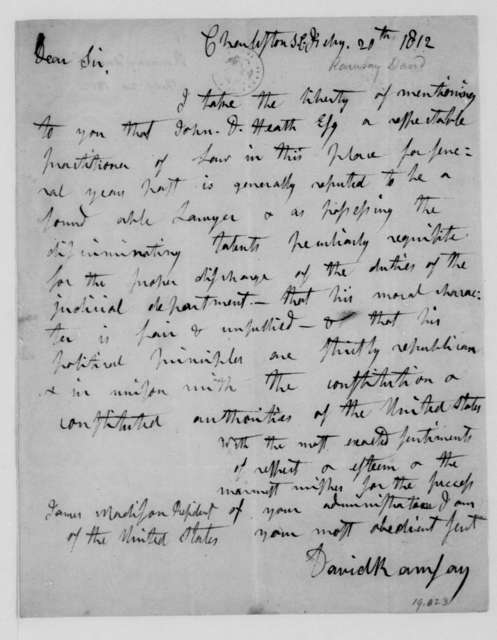 David Ramsay to James Madison, February 20, 1812.