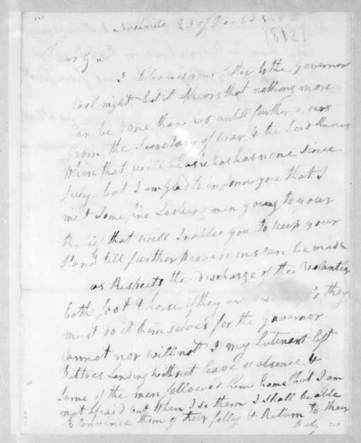 David Smith to Andrew Jackson, December 25, 1812