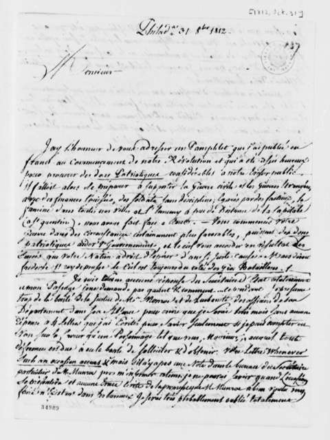 De Lormerie to Thomas Jefferson, October 31, 1812, in French