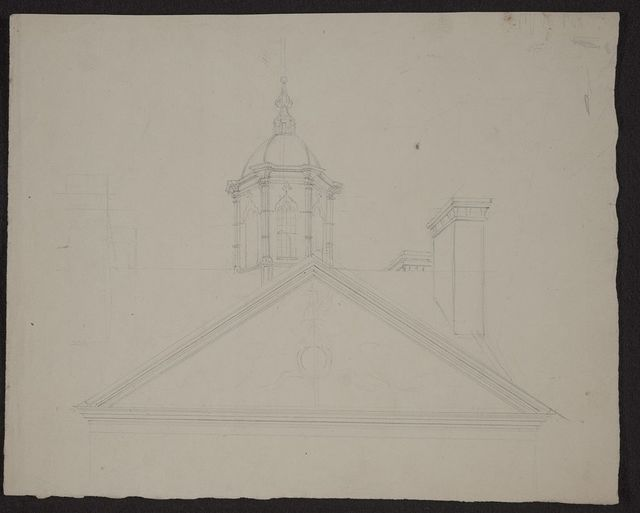 [Detail view of cupola, pediment, and frieze of a large public building in Charleston, South Carolina]