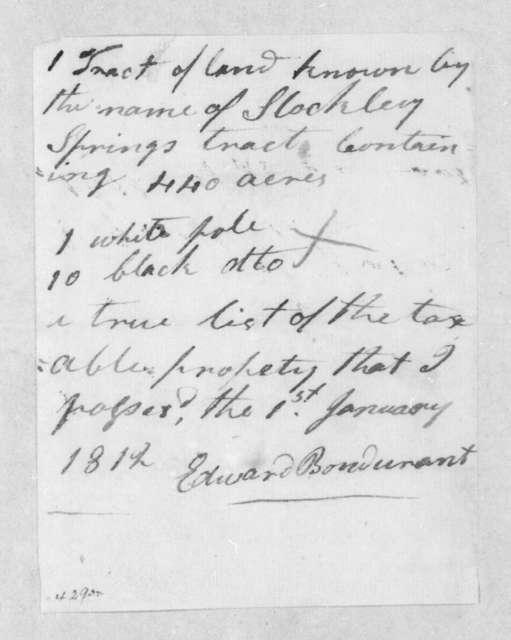 Edward Bondurant, January 1, 1812