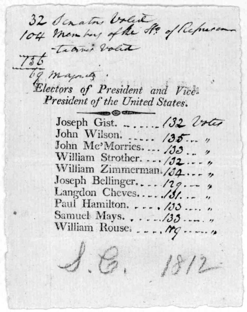 Electors of President and Vice President of the United States. Joseph Gist, John Wilson John Me'Morries. William Strother, William Zimmerman, Joseph Bellinger, Langdon Cheves, Paul Hamilton, Samuel Mays, William Rouse. [S. C. 1812].