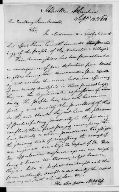 Eli Simpson Davis to James Madison, September 15, 1812.
