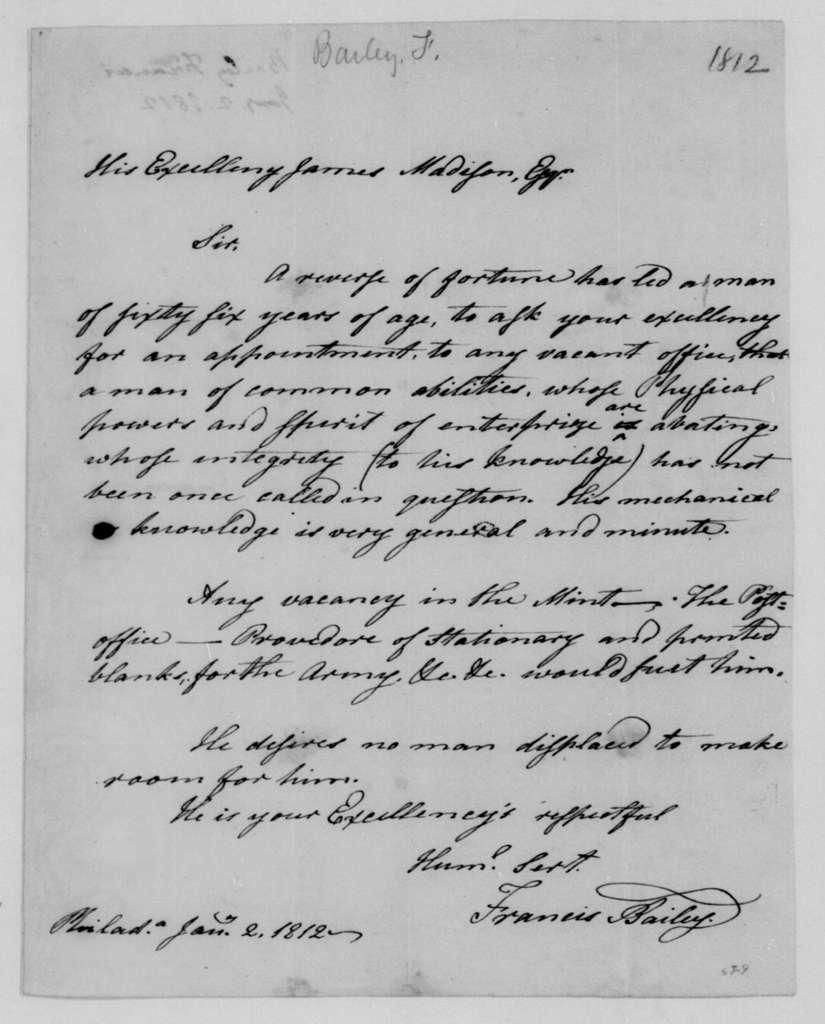 Francis Bailey to James Madison, January 2, 1812.