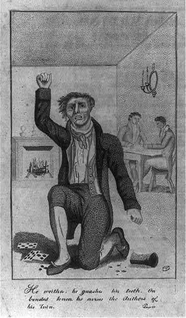 """[Frontis illus. of books by Mason Locke """"Parson"""" Weems (1759-1825): """"he writhes. he gnashes his teeth. on bended knee he curses the author of his ruin"""" [gambler]]"""