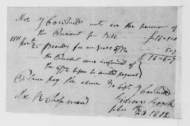 G. Cowherd to James Madison, February 24, 1812. Receipted Bill.