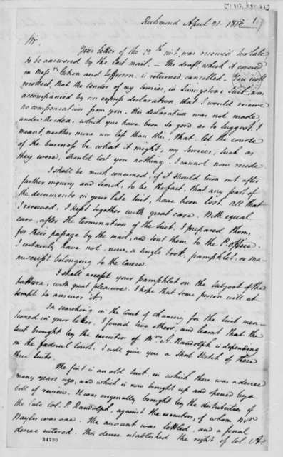 George Hay to Thomas Jefferson, April 21, 1812