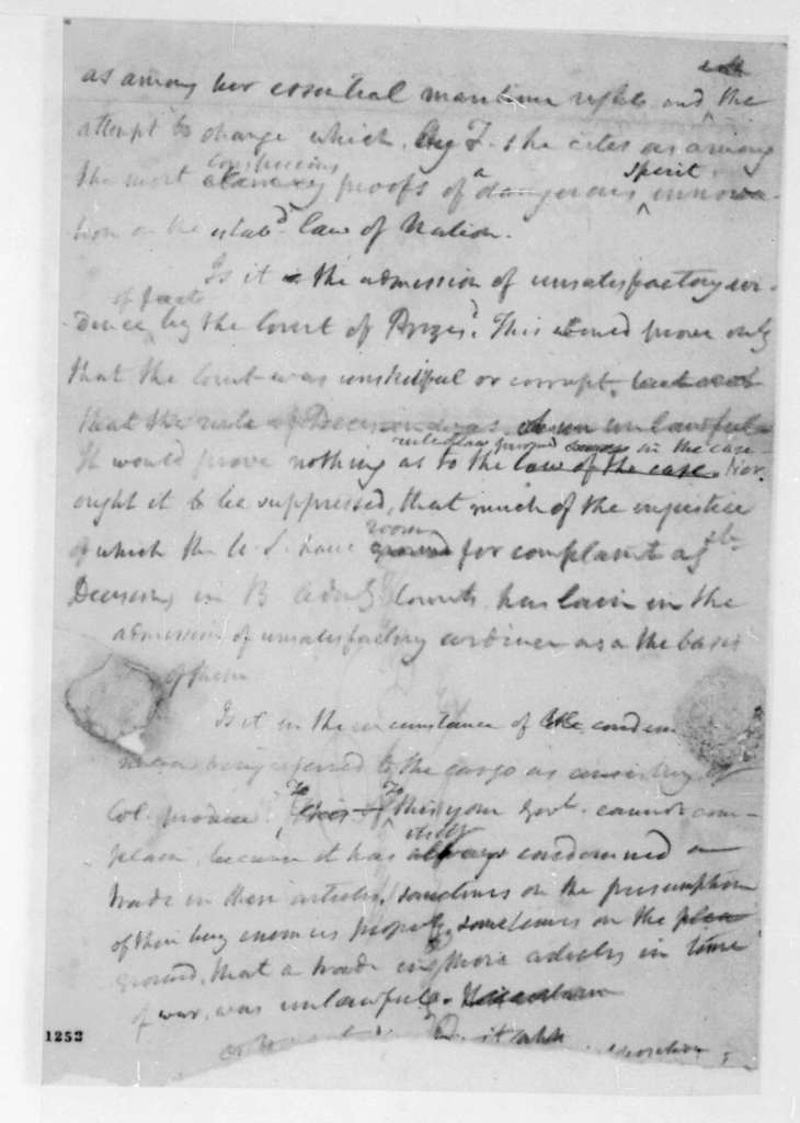 George Joy to James Madison, February 24, 1812. With extracts and notes.