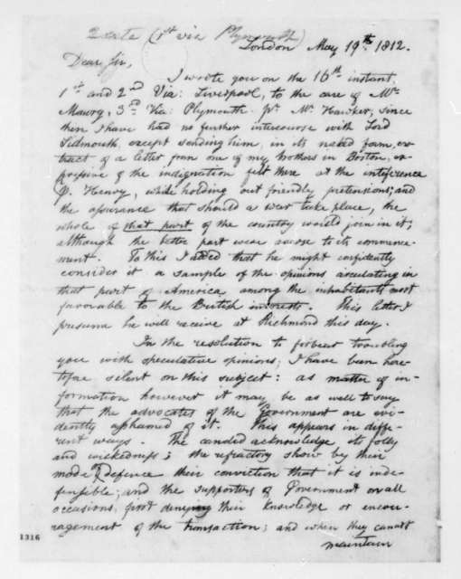George Joy to James Madison, May 19, 1812.