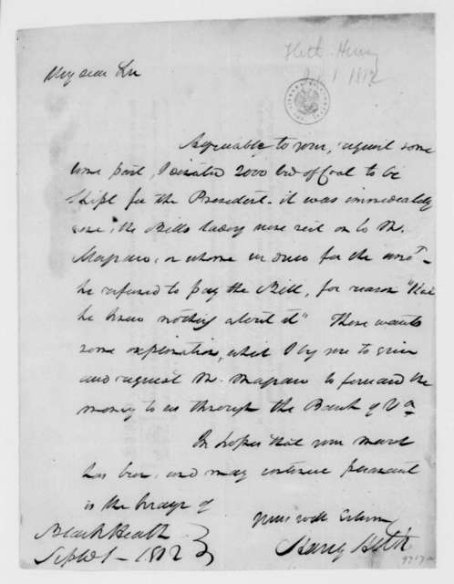 Henry Heth to Isaac Coles, September 1, 1812. With bill of lading.