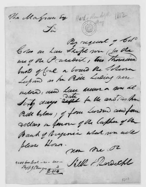 Heth & Randolph to Thomas Magraw, August, 1812.