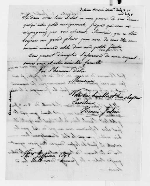 Honore Julien to Thomas Jefferson, July 2, 1812, in French