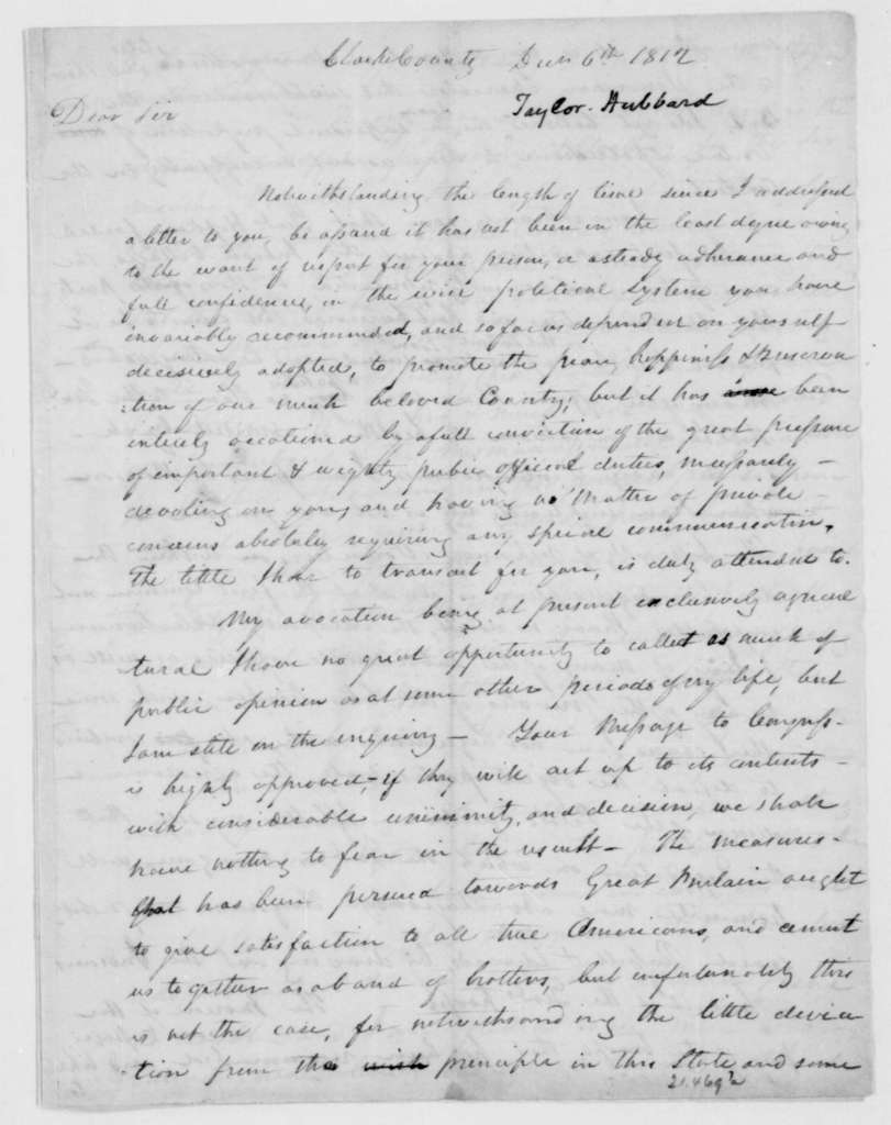 Hubbard Taylor to James Madison, December 6, 1812.