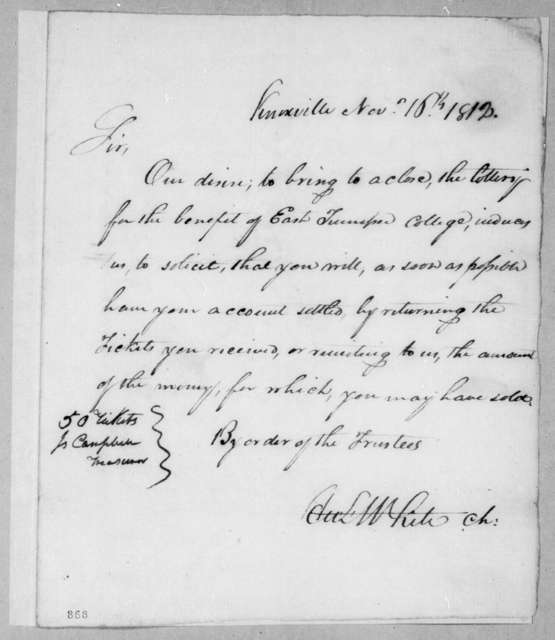 Hugh Lawson White to Andrew Jackson, November 16, 1812
