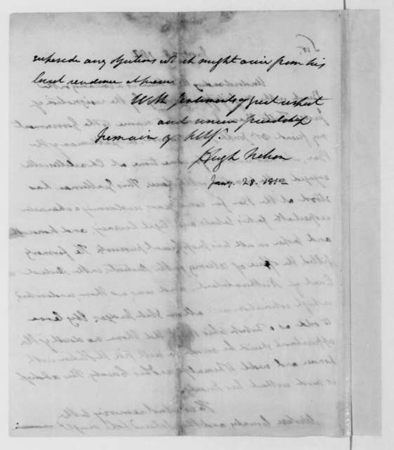 Hugh Nelson to James Madison, January 28, 1812.