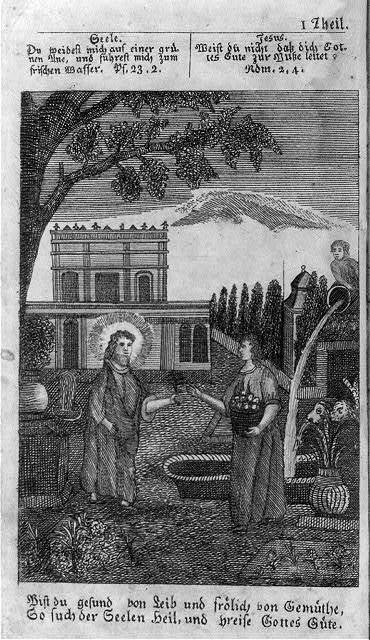 """[Illus. opp. p.1, showing Jesus telling woman in garden """"if you have a healthy body and are in good spirits, then search for the redemption of your soul and praise the goodness of God""""]"""