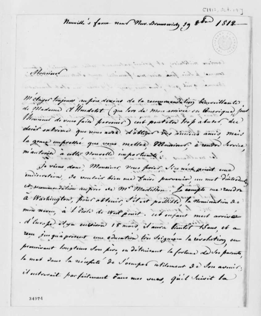 J. G. Hyde de Neuville to Thomas Jefferson, October 19, 1812, in French