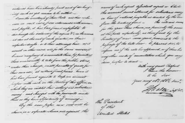 J. Mason to James Madison, July 8, 1812. Includes statement regarding salary and subsistence for Indian agents, from April 1, 1811 to March 31, 1812.