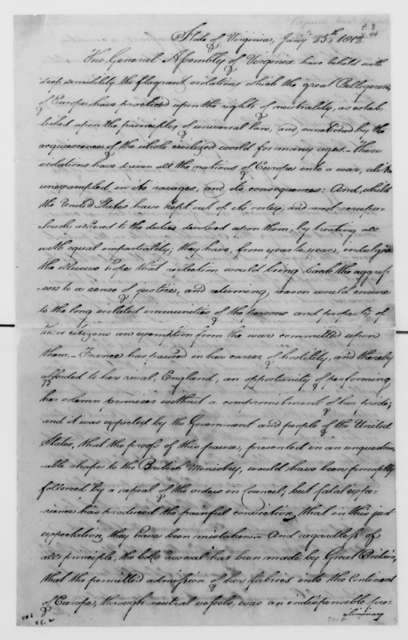 James Barbour to James Madison, January 29, 1812. Resolutions of the Virginia Legislature, Foreign Relations.