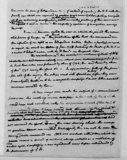 James Madison, June, 1812. Fragment - Notes on trade controversy with Great Britain.