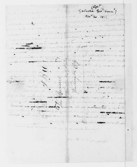 James Madison to Jonas Galusha, November 30, 1812.