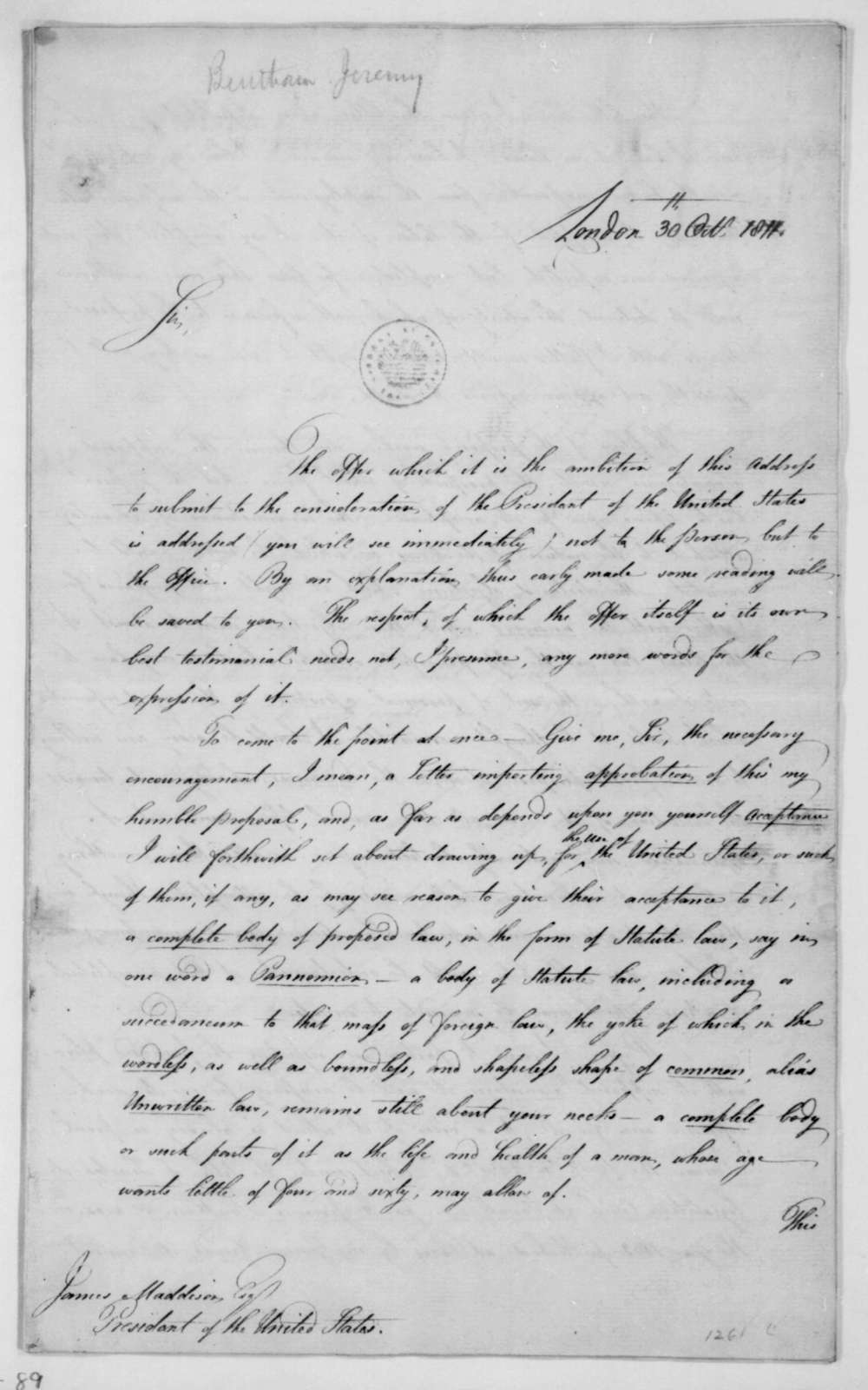 Jeremy Bentham to James Madison, October 30, 1812. With list of books.
