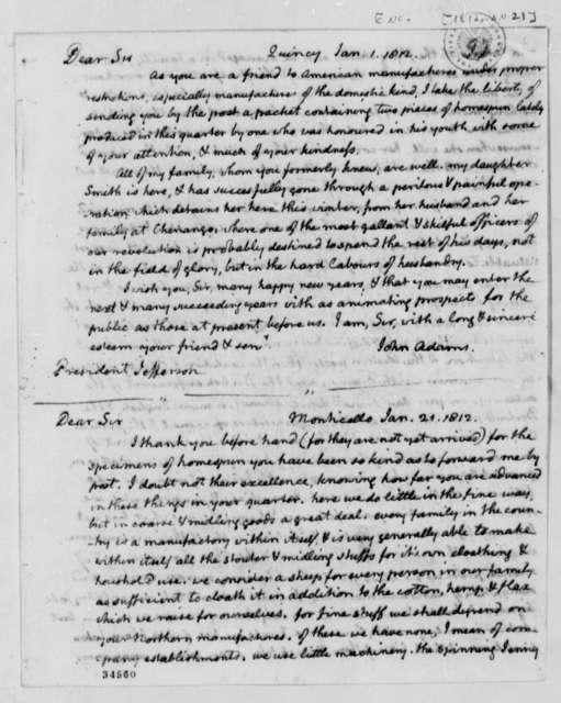 John Adams to Thomas Jefferson, January 1, 1812