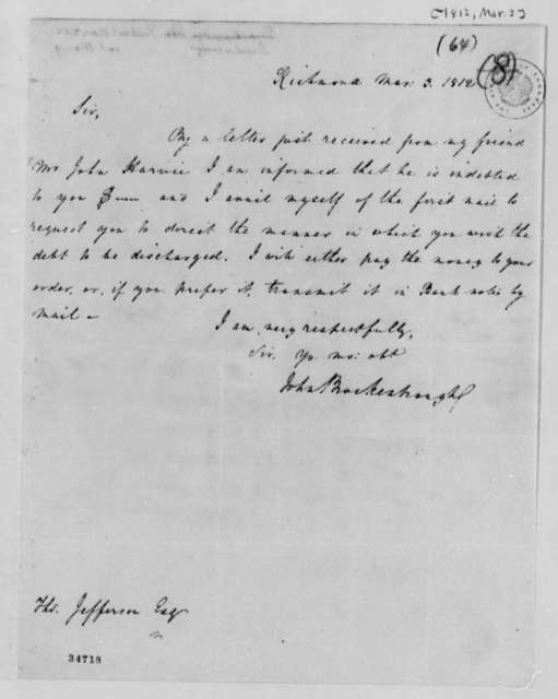 John Brockenbrough to Thomas Jefferson, March 3, 1812