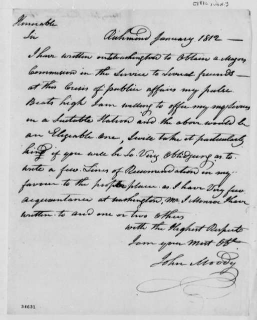 John Moody to Thomas Jefferson, January 1812